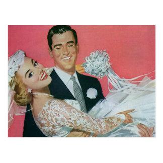 Vintage Wedding Newlyweds, Groom Carrying Bride Postcard