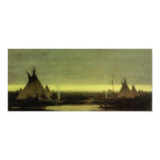Vintage Western, Indian Camp at Dawn by Tavernier 10 Cm X 24 Cm Invitation Card