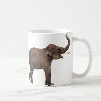 Vintage Wild Animals, Good Luck Asian Elephants Basic White Mug