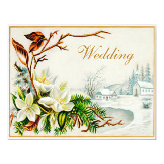 Vintage Winter Snow Church & Lilies Wedding 11 Cm X 14 Cm Invitation Card