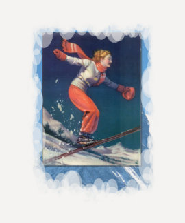 Vintage Winter Sports - Flying down the mountain Tee Shirts