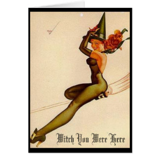 Vintage Witch, Witch You Were Here Note Card