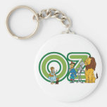 Vintage Wizard of Oz Characters and Text Letters Basic Round Button Key Ring