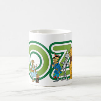 Vintage Wizard of Oz Characters and Text Letters Basic White Mug