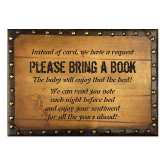 Vintage Wood Bring a Book Baby Shower Insert Pack Of Chubby Business Cards