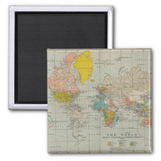 Vintage World Map 1910 Square Magnet