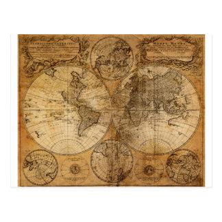Vintage World Map Atlas Postcard