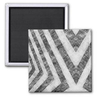 Vintage Worn Hazard Stripes Textured Square Magnet