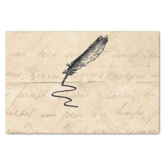 "Vintage Writer's Feather Quill 10"" X 15"" Tissue Paper"
