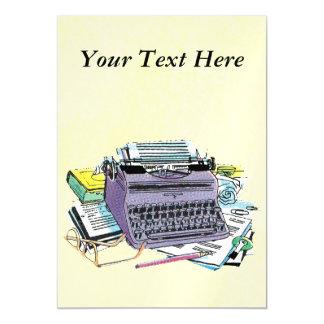 Vintage Writer's Tools Typewriter Paper Pencil Magnetic Invitations