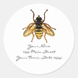 Vintage Yellow and Black Bee Round Sticker