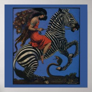 Vintage Zebra with Art Nouveau Woman Rider Poster