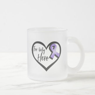 Violet Awareness Ribbon For My Hero Frosted Glass Mug