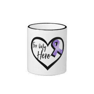 Violet Awareness Ribbon For My Hero Ringer Mug