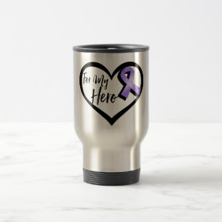 Violet Awareness Ribbon For My Hero Stainless Steel Travel Mug