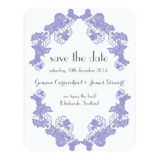 Violet Lace Trim Save The Date 11 Cm X 14 Cm Invitation Card