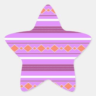 Violet orange artistic stripes star sticker