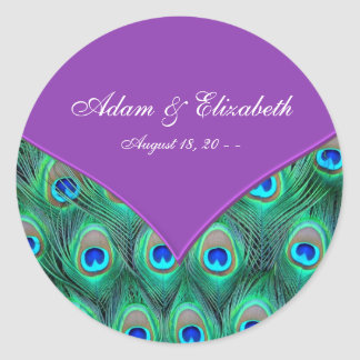 Violet Purple Peacock Wedding Round Sticker