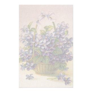 Violets in a Basket Stationery