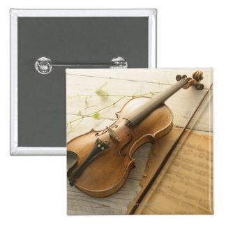 Violin and Sheet Music 15 Cm Square Badge