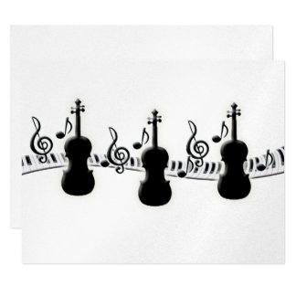Violin Piano Keyboard and Music Notes 11 Cm X 14 Cm Invitation Card