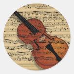 Violin Vintage Music Round Sticker