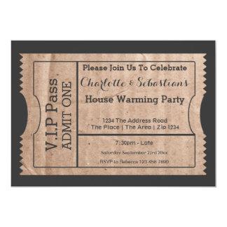 VIP Pass House Warming Cardboard Themed Ticket 13 Cm X 18 Cm Invitation Card