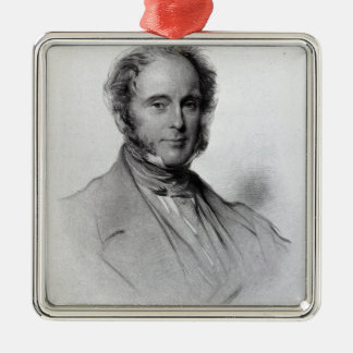 Viscount Palmerston, engraved by Emery Walker Silver-Colored Square Decoration