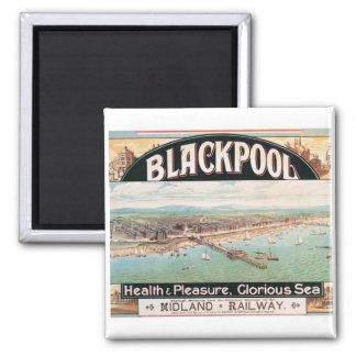 Visit Blackpool Poster Square Magnet