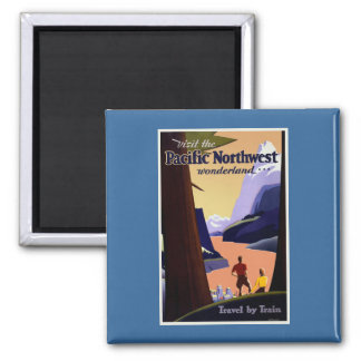 Visit Pacific Northwest Vintage Square Magnet