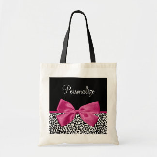 Vivacious Dark Pink Ribbon Leopard Print With Name Budget Tote Bag