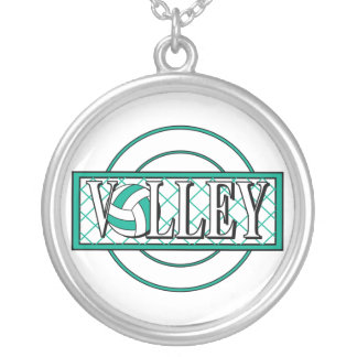volley logo green round pendant necklace