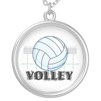 volley volleyball graphic and text round pendant necklace