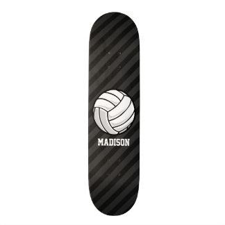 Volleyball; Black & Dark Gray Stripes Skateboard Deck