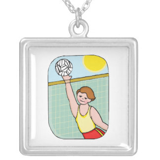 Volleyball kid square pendant necklace