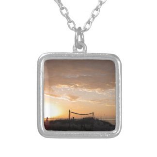 Volleyball Net Sunset Beach Square Pendant Necklace