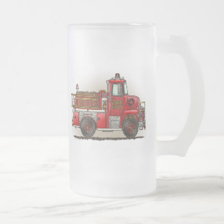 Volunteer Fire Truck Frosted Glass Mug