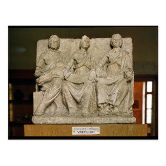 Votive sculpture of a triple mother deity postcard