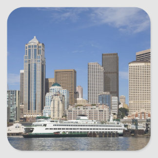 WA, Seattle, Seattle skyline with ferry boat Square Sticker