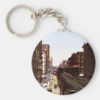 Wabash Ave North Adams Street Chicago Illinois Basic Round Button Key Ring