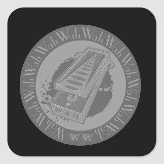 Wah Wah Pedal Grey Square Sticker