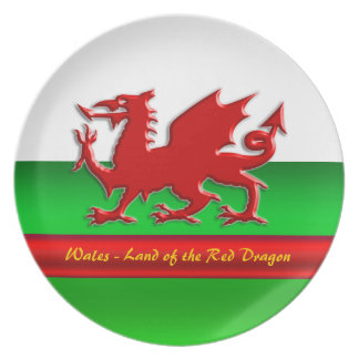 Wales - Home of the Red Dragon, metallic-effect Plates