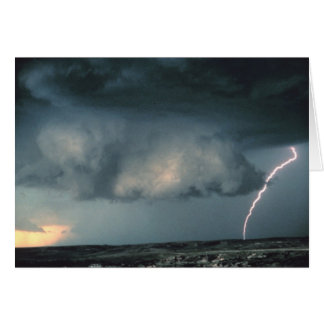 Wall cloud with lightning greeting card