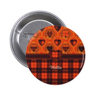 Wallis clan Plaid Scottish tartan 6 Cm Round Badge