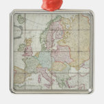 Wallis' New Map of Europe Silver-Colored Square Decoration