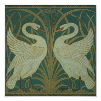 "Wallpaper Design for panel of ""Swan, Rush & Iris"" Poster"