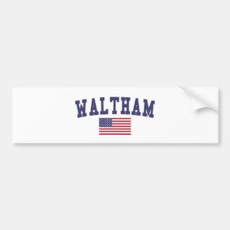Waltham US Flag Bumper Sticker