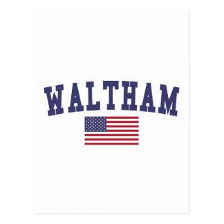 Waltham US Flag Postcard