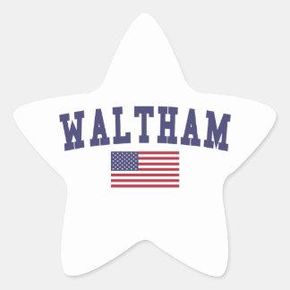 Waltham US Flag Star Sticker