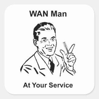 WAN Man At Your Service Retro Tech Square Sticker